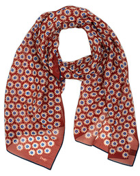 Drake's Cotton/Silk Printed Daisy Scarf Red