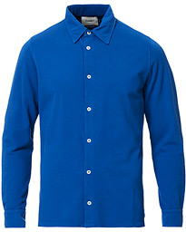 Drake's Long Sleeve Pique Shirt Classic Blue