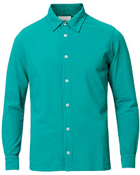 Drake's Long Sleeve Pique Shirt Emerald Green