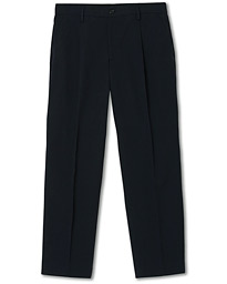 Filippa K Samson Loose Fit Pleated Cotton Trousers Navy