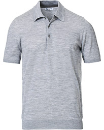 Johnstons of Elgin Superfine Worsted Merino Short Sleeve Polo Granite