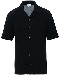Sunspel Short Sleeve Pique Shirt Black