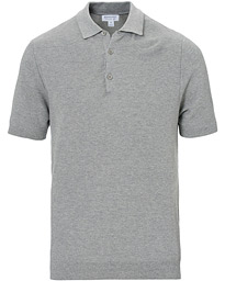 Sunspel Rack Stitch Fine Knitted Polo Pale Grey