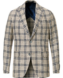 Oscar Jacobson Ferry Checked Patch Pocket Blazer Beige