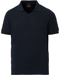 Oscar Jacobson Ozzy Knitted Cotton Polo Navy