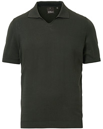 Oscar Jacobson Ozzy Knitted Cotton Polo Green