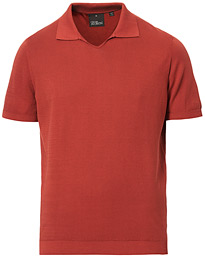Oscar Jacobson Ozzy Knitted Cotton Polo Tomato Red