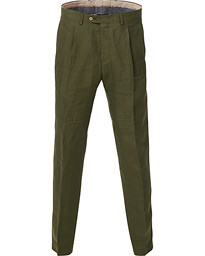 Oscar Jacobson Delon Linen Trousers Green