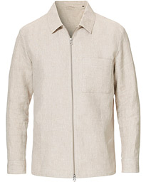J.Lindeberg Jason Linen Zip Overshirt Cloud Grey