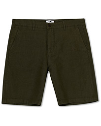 NN07 Crown Linen Shorts Army Green
