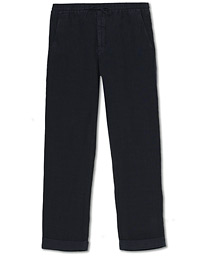 NN07 Seb Linen Drawstring Turn Up Trousers Navy