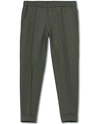 Filippa K Terry Cropt Turn Up Linen Trousers Green Grey