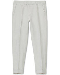Filippa K Terry Cropt Turn Up Linen Trousers Sterling Grey