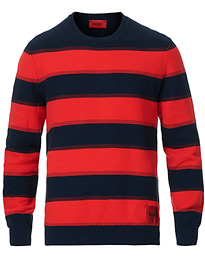 HUGO Sanor Striped Knitted Sweater Navy/Red