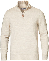 Morris Randall Cotton Half-Zip Sweater Khaki