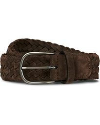 Anderson's Braided Suede 3,5 cm Belt Dark Brown