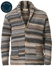 Dégradé Shawl Collar Cardigan Grey/White