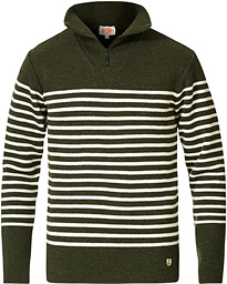 Armor-lux Nom Striped Half Zip Sweater Green/Nature