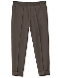 Terry Gabardine Cropped Turn Up Trousers Taupe