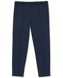 Terry Gabardine Cropped Turn Up Trousers Dark Blue Mel
