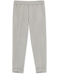 Filippa K Terry Flannel Cropped Turn Up Trousers Warm Grey Mel