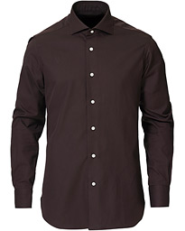 Culto Slim Fit Washed Oxford Shirt Dark Brown