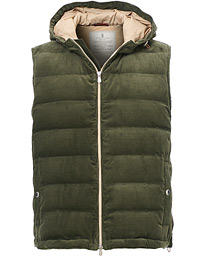 Brunello Cucinelli Corduroy Hooded Vest Sage Green