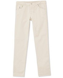 Brunello Cucinelli Slim Fit 5-Pocket Twill Pants Light Beige