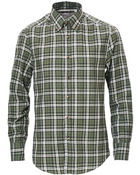 Slim Fit Button Down Flannel Shirt Green Check