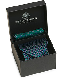 Box Set Printed Silk 8 cm Tie and Pocket Square Green