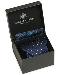 Box Set Silk 8 cm Tie With Paisley Pocket Square Navy