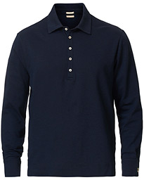 Ischia Cotton/Cashmere Long Sleeve Polo Blue Navy