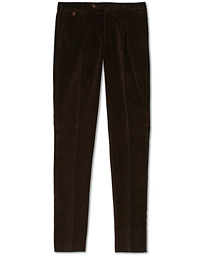 PT01 Gentleman Fit Pleated Corduroy Trousers Dark Brown