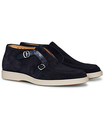 Detroit Double Monk Shoe Navy Suede