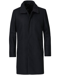 Cunning Wool/Cashmere Stand Collar Coat Black