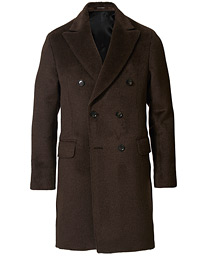 Oscar Jacobson Saul Delux Llama Wool Double Breasted Coat Brown
