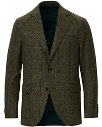 Oscar Jacobson Fogerty Yorkshire Tweed By Moon Checked Blazer Green