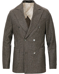 Oscar Jacobson Erik Double Breasted Houndtooth Blazer Beige