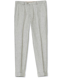 Oscar Jacobson Dean Turn Up Flannel Trousers Light Grey