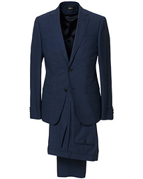 Z Zegna Slim Fit Tropical Wool Suit Navy Blue