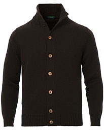 Virgin Merino Wool Chioto Cardigan Dark Brown