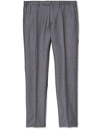 Incotex Slim Fit Super 120s Flannel Trousers Grey Melange