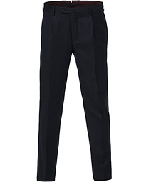 Incotex Slim Fit Pleated Flannel Trousers Navy