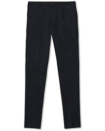 Slim Pleated Cotton Chinos Navy
