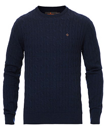 Morris Merino Cable O-Neck Blue