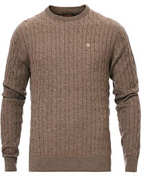 Morris Merino Cable O-Neck Brown