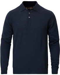 Knitted Merino Wool Poloshirt Navy