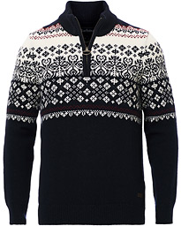Fairisle Half Zip Navy