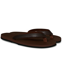 Saffiano Leather Flip-Flop Brown/Brown