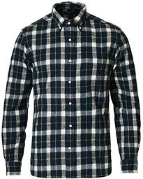 Shaggy Button Down Shirt Green Check